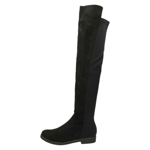 LADIES SPOT ON F50850 PLAIN BLACK LONG KNEE HIGH MICROFIBRE ELASTICATED BOOTS