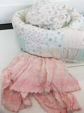 Simply Shabby Chic Crib Bedding Set Rose Floral Chenille Bumper Sheet Lace Skirt