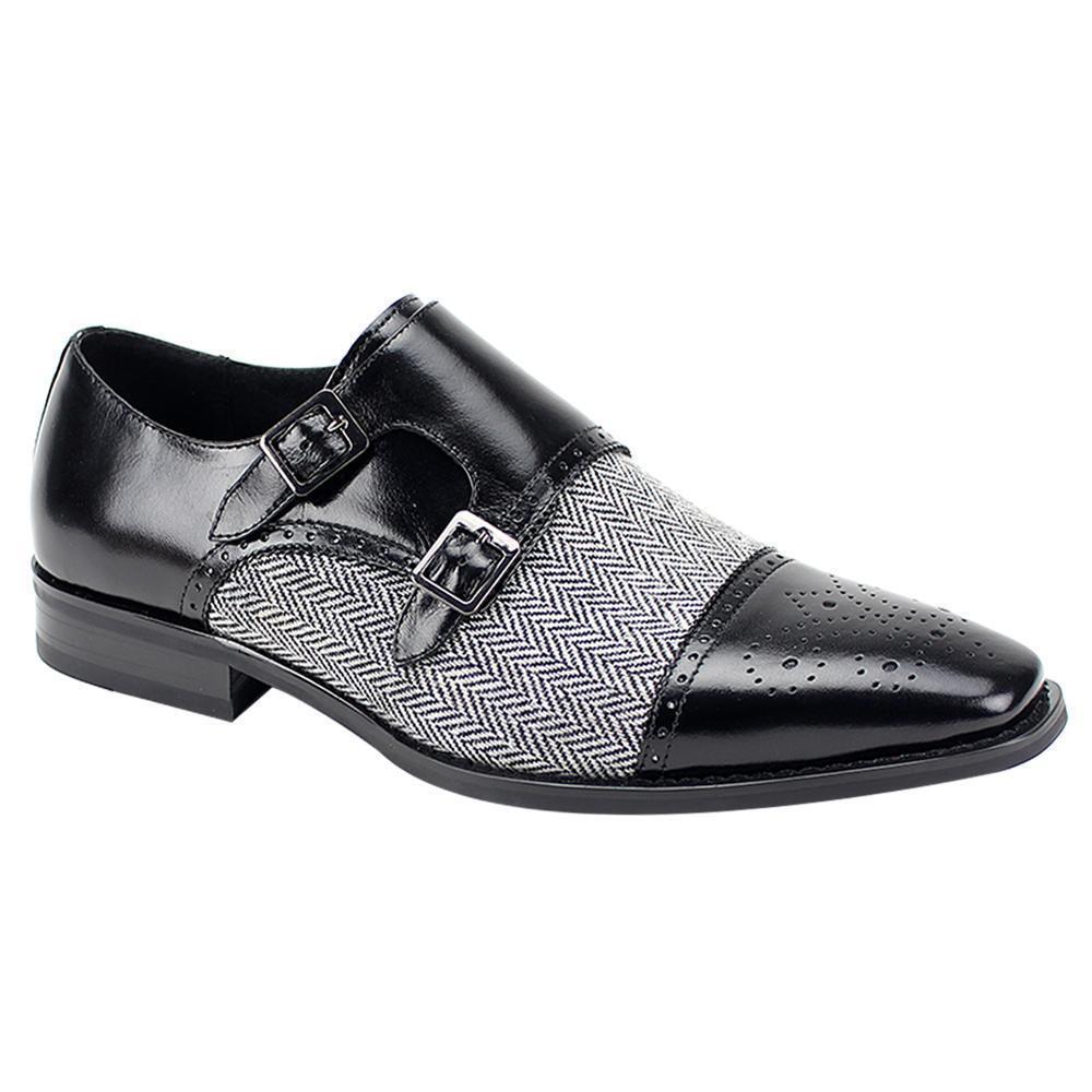 Uomo Nuove Scarpe due fatte a mano in pelle Tweed due Scarpe toni grigio nero Scarpe Formali c25fda