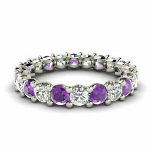 2.03 Ct Diamond Amethyst Eternity Band 14K Solid White Gold Womens Ring Size M