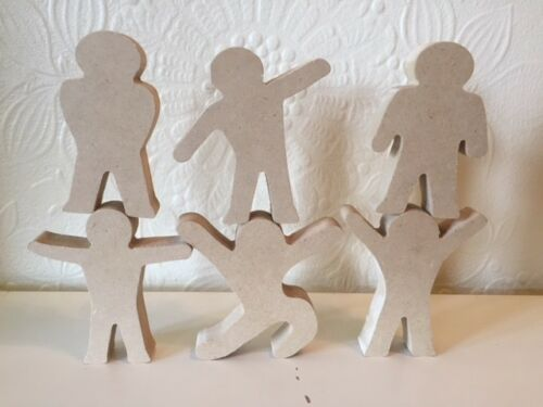 Set of 6 Little People 18mm MDF Wooden figures 10cm tall