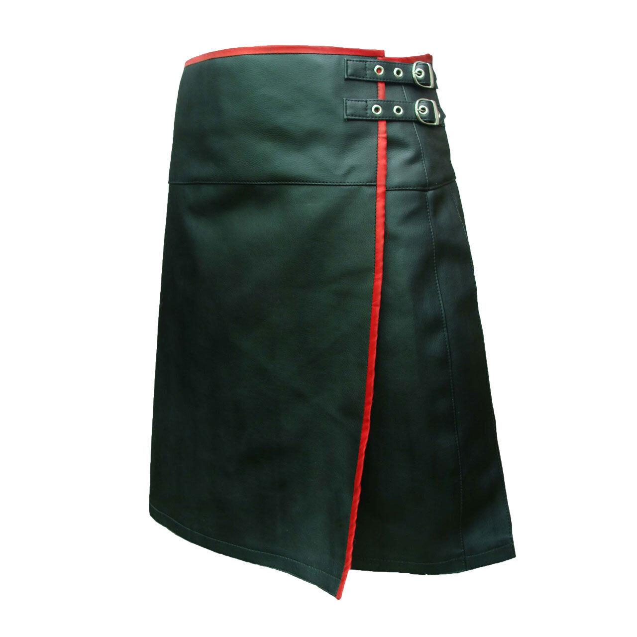Men Kilt Black Leather Pleated LARP Utility Flat Front Pocket Wrap Style