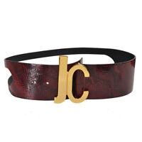Just Cavalli Women's Burgundy Snake Skin Print 100% Leather Belt Us 30 It 75