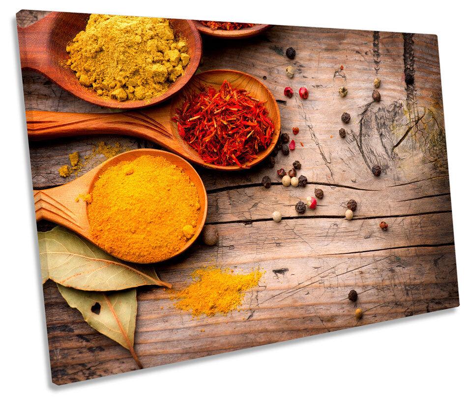 Curry Spices Powder Herbs Bild SINGLE CANVAS Wand Kunst Drucken