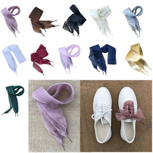 Fashion Women 1Pair Shoestrings Shoelaces Flat Silk Satin Ribbon Laces Sneakers