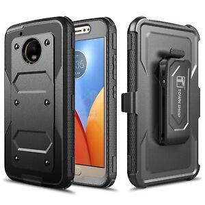 premium selection ab9cc f2aa6 Details about Motorola Moto G5 Case, Impact Armor Hybrid Belt Clip Case  with Built-in Screen