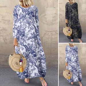 ZANZEA-Femme-Robe-imprimee-Poches-laterales-Manche-Longue-Casuel-Dresse-Plus
