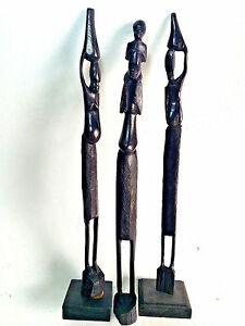"""Lot of 3 Hand Carved Wooden Statue Figures 18"""" African Tribal Ebony Wood Carving"""