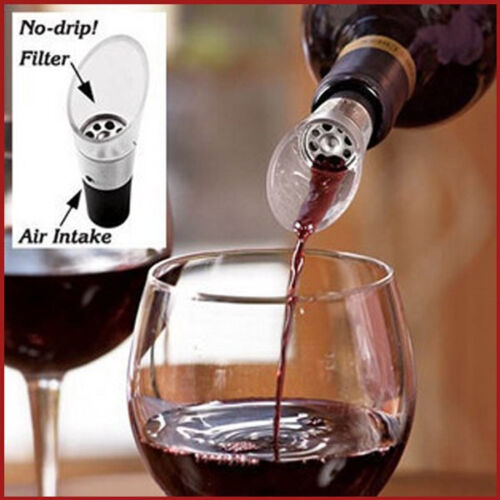 2x White Red Wine Air Aerator Aerating Pour Spout Bottle Stopper Decanter Pourer