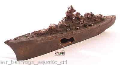 "Sunken WW2 Destroyer Ship, 12""L ~ aquarium ornament fish tank decoration"