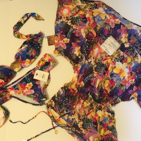 Luli Fama Bikini + Kleid Bedecken Gehäuse Juwelen Locas Aventuras Sealife Fisch