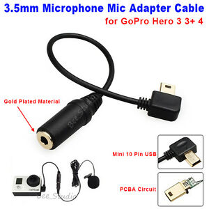 mini 10 pin usb microphone mic adapter cable for gopro hero 3 3 4 camera ebay. Black Bedroom Furniture Sets. Home Design Ideas