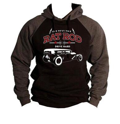 Men/'s Genuine Rat Rod Drive Hard Mask Black Fleece Hoodie American Classic Car