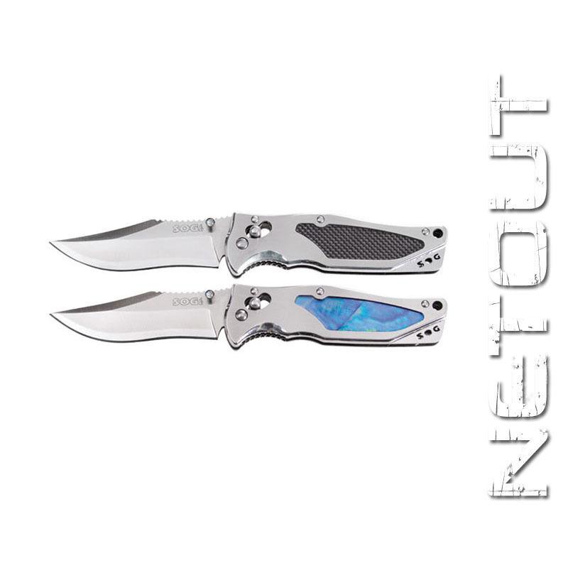 Coltello SOG Stingrau 2.0 inserti madreperla in madreperla inserti / fibra di carbonio Rare Knife 01da10