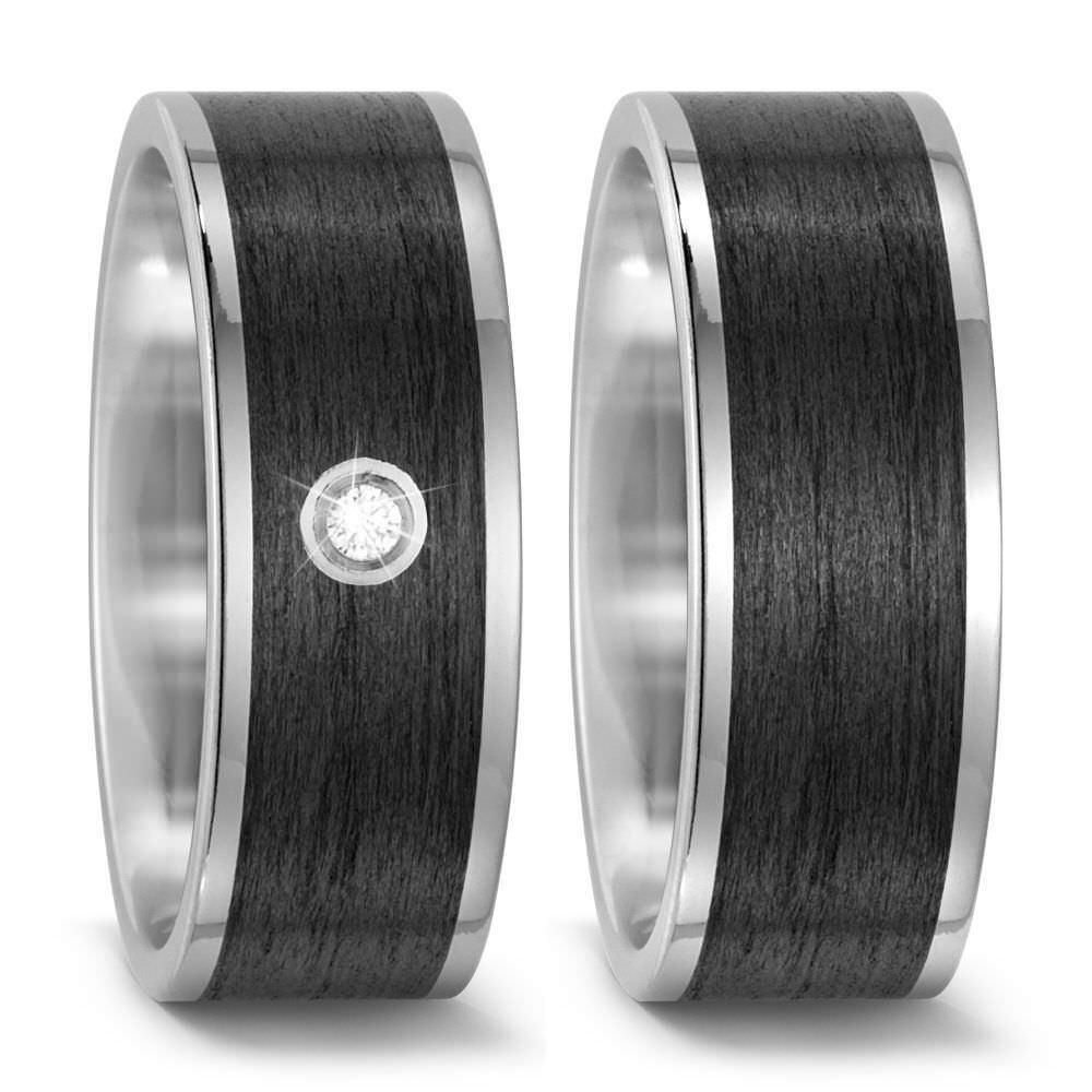Paar Trauring Ehering Verlobungsring Ringe aus Titan Carbon mit Brillant Diamant