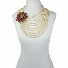 Heidi Daus Pavé Poinsettia Multi-Strand Station Necklace SWAROVSKI CRYSTALS WOW!