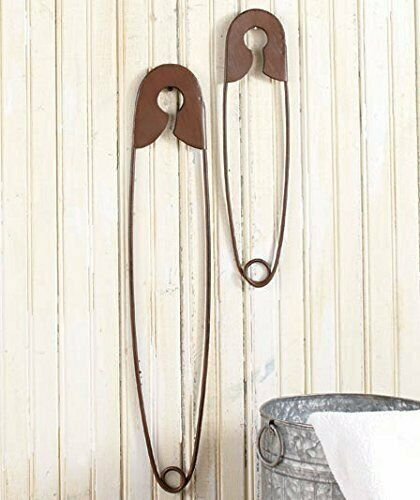 Small Large Set of 2 Hanging Laundry Room Home Decor Hanging Metal Safety Pins