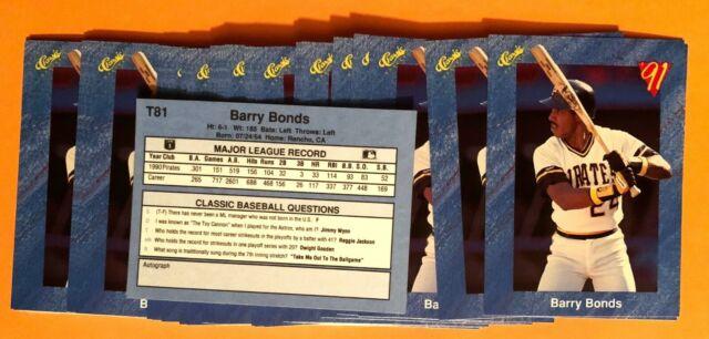50) BARRY BONDS Pittsburgh Pirates 1991 Classic Baseball Card #T81 LOT
