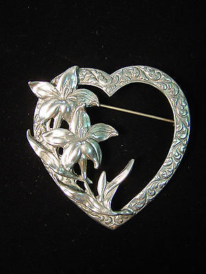 Silver Pewter HEART & FLOWERS Pin~Love of Flowers