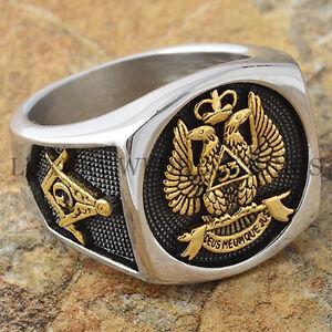 Men-039-s-Masonic-Ring-Scottish-Rite-33-Degree-Freemason-24K-Gold-Plated-Size-9-13