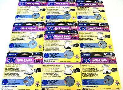 """30 NORTON 5"""" HOOK & LOOP SANDING DISCS 03227 5 & 8 HOLE 220 GRIT ORBITAL SANDER"""