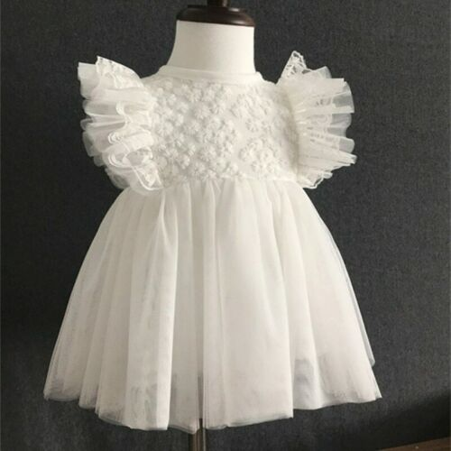 Infant Baby Girl Birthday Wedding Baptism Christening Party Gown Soft Lace Dress