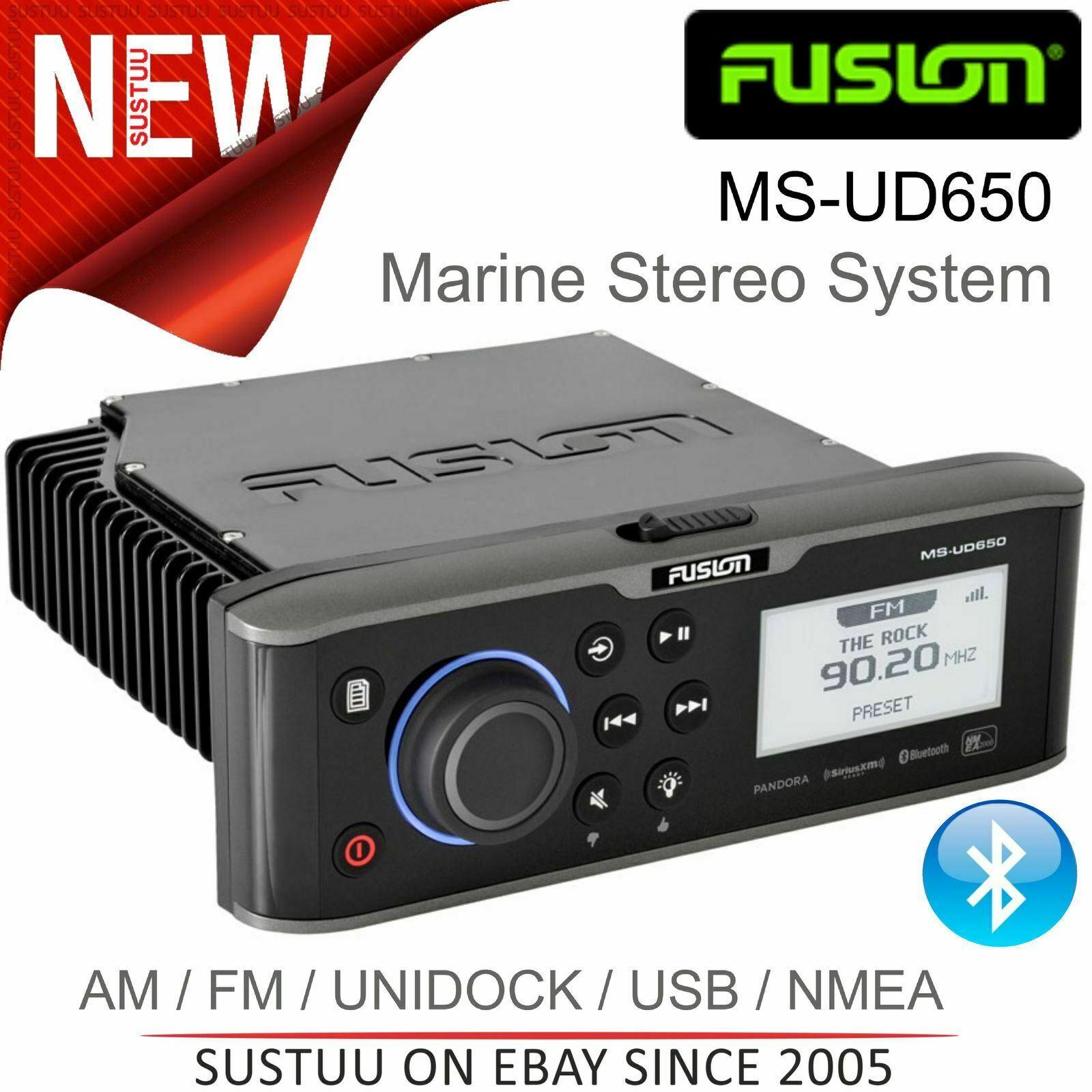 Fusion MS-UD650 Marine Stereo │ Am Fm   Unidock   BT   USB Aux   Nmea   Mtp │