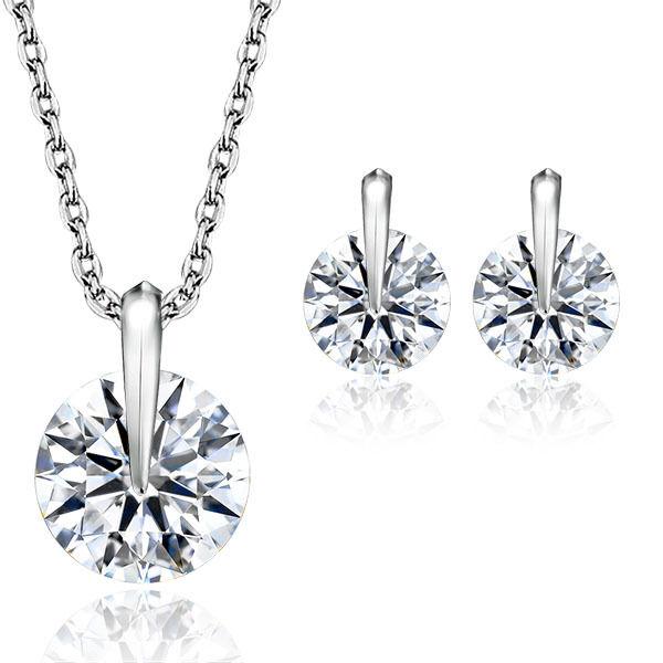 Round Cut White Crystal Diamond Party Jewelry Set Wedding Jewelry Sets For Women