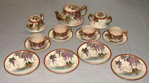 Original-Antique-Japanese-Satsuma-Porcelain-Signed-15-Pieces-Tea-Set