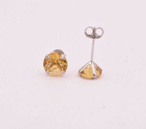 November Birthstone 7mm Round Citrine 925 Sterling Silver 4 prongs Stud Earrings