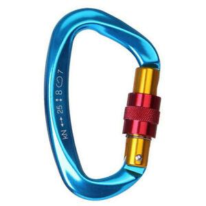 2x 25KN Rescue Climbing Anti-wear Rope Main Lock Carabiner Quick Hook