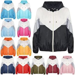 5e76bb5541893 Image is loading Kids-Girls-Boys-Windbreaker-Jackets -Panelled-Hooded-Cagoule-