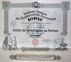 Compagnie Française Des Accumulateurs Électriques Iodac Action 100 Francs 1928 I4devuxd-07214353-809281011