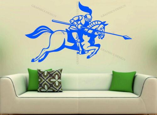 Medieval Knight On Horse Jousting Decor Bedroom Art Vinyl Wall Sticker Decal