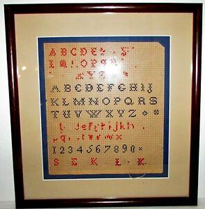 "Antique Cross Stitch Sampler Matted Framed 14"" x 13"" Punch Paper in Wooden Frame"
