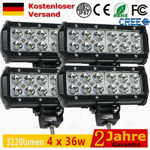4 x36w deck led arbeitsscheinwerfer traktor scheinwerfer auto 12v leuchten 48w ebay. Black Bedroom Furniture Sets. Home Design Ideas