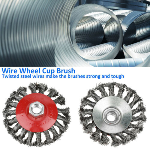 4 PCS 75//105MM Metal Wire Wheel Cup Brush Crimped For Angle Grinder Drill