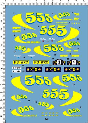 643 1//24 Decals SUBARU Impreza WRC 97 555 SAFARI