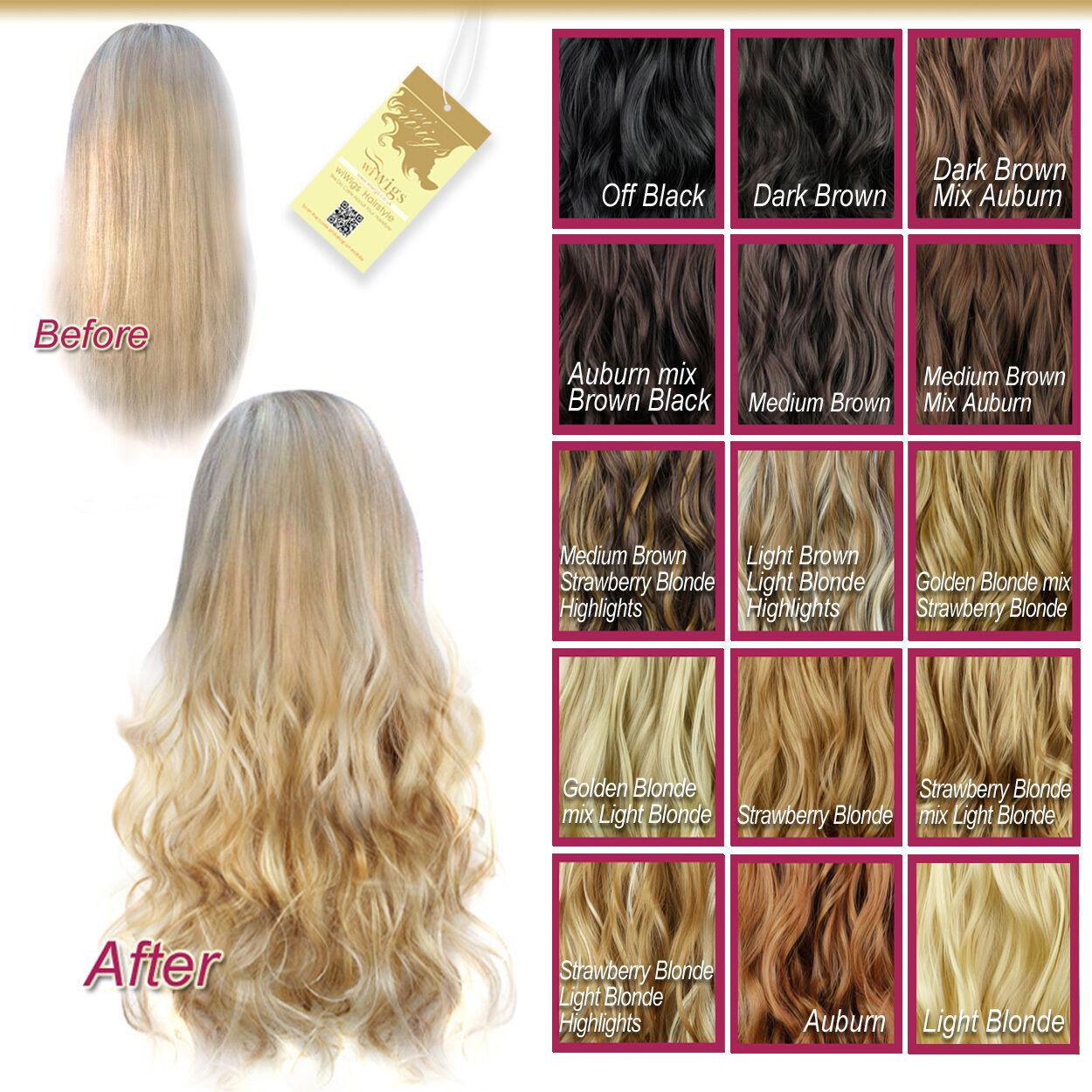 Wiwigs Curly Half Head 1 Piece Blonde Brown Auburn Black Clip In