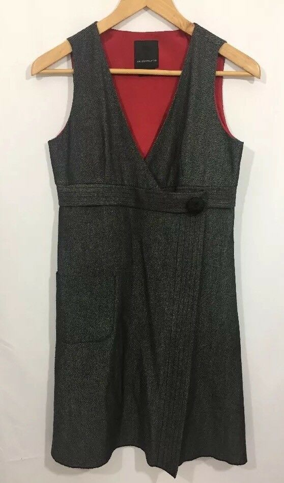 Anna Sui for Anthropologie Women's Dress Wrap Style Sleeveless Lined Bodice SZ 2