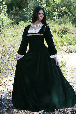 5PC RENAISSANCE DRESS HOOP SATIN CHEMISE DICKENS COSTUME HUNTER GREEN ANY SIZE