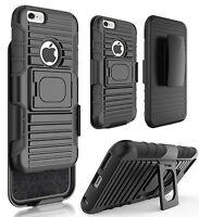 Black Grip Ring Case Cover + Belt Clip Holster Stand For Iphone 6 6s (4.7)