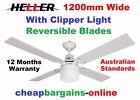 HELLER CEILING FAN WITH LIGHT COHEN 1200mm 4 REVERSIBLE BLADES AUST STD WARRANTY