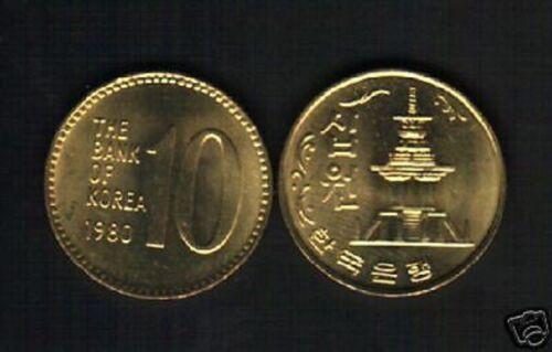 KOREA SOUTH 10 WON KM6a 1980 PAGODA TEMPLE UNC KOREAN COIN CURRENCY MONEY