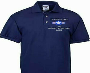 MCCONNELL AIR FORCE BASE KANSAS  USAF EMBROIDERED POLO SHIRT/SWEAT/JACKET.