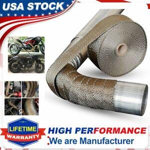 "2""x 50ft Roll Titanium Header Turbo Pipe Lava Manifold Exhaust Heat Wrap 10 Ties"