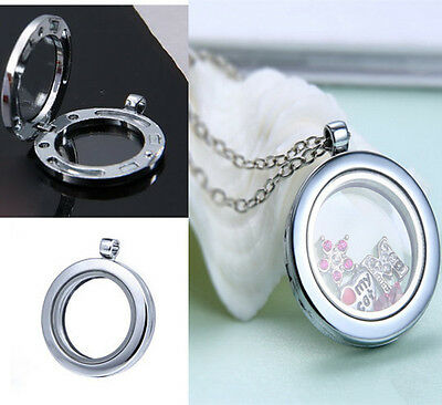 Hot LIVING MEMORY GLASS FLOATING CHARMS LOCKET PENDANT ROUND NECKLACE