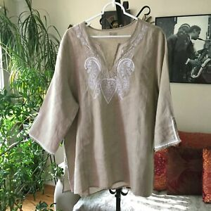 SYMPLE-NYC-sz-1X-Beige-Paisley-Embroidered-Linen-Tunic-Top-Lagenlook