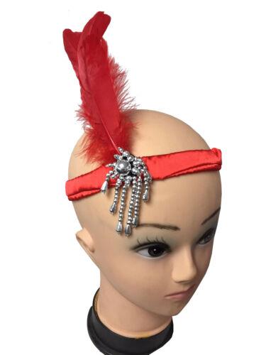 Ladies Bristol Novelty 20/'s Flapper Head band Red White Black Feather Headband