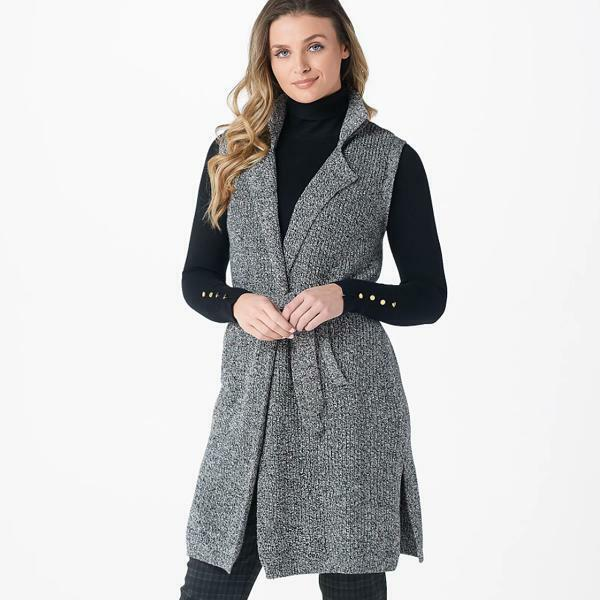 Joan Rivers Sweater Knit Duster Vest with Belt Heathered Gray